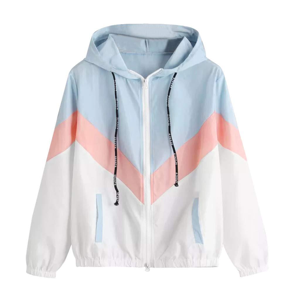HHei_K Womens Casual Long Sleeve Color Block Patchwork Drawstring Hooded Zipper Pocket Thin Windbreaker Sport Coat
