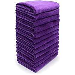 "Purple Washcloths-12"" By 12"", Pack of 12. Washer Cleaner Cleaning Cloth rag for House, Car, Boat. Home Essential Cloths for Dusting Furniture, Wiping Down Appliances, and Polishing products"