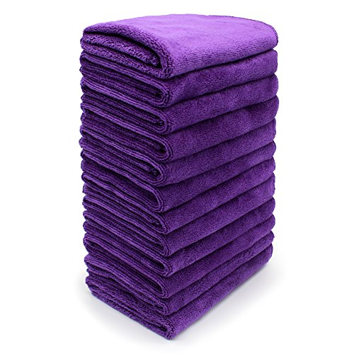SURPRISE PIE 12 Pack Microfiber Cleaning Cloth Purple Kitchen Cloths for Dusting and Polishing Cleaner Supplies Rags for Car Boat House Glass Lint Free Streak Free