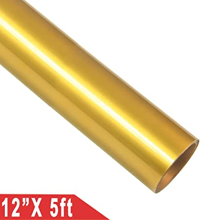 Rollo de vinilo de transferencia de calor 30,5 x 152 cm HTV para planchar en camisetas y telas dorado: Amazon.es: Hogar