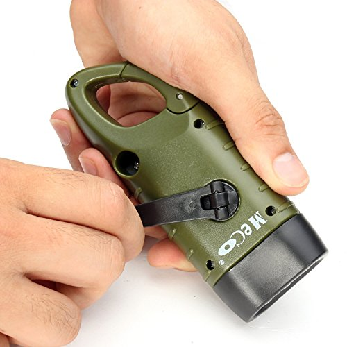 MECO Hand Cranking Solar Powered Rechargeable Flashlight Emergency LED Flashlight Carbiner Dynamo Quick Snap Clip Backpack Flashlight Torch Weather Ready for Camping Outdoor Climbing Hiking ()