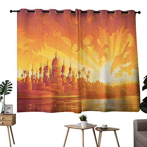 Mannwarehouse Asian Simple Curtain Golden City Under Dragon Fire Sky Palace Mythical Magical Legendary City Scenery Set of Two Panels 63
