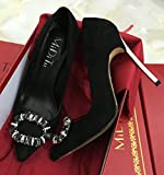 GAOLIM Tip High-Heeled Fine To Have The Water-Matte Pale-Pink With Red Mother Of The Bride Water Drill To Tie The Girl Marriage Single Shoes, 36, Code 230, Black 10Cm With