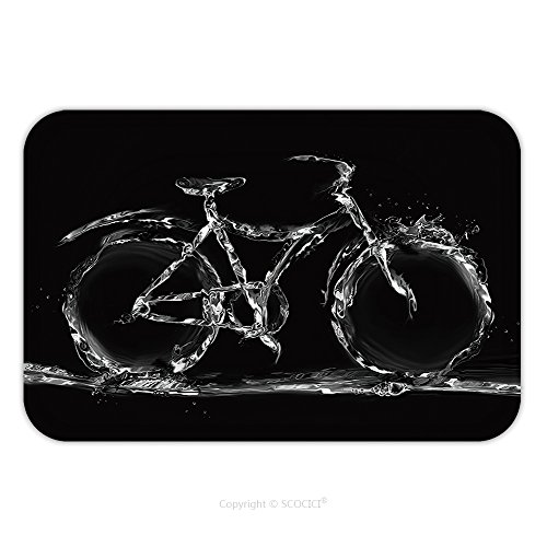 Flannel Microfiber Non Slip Rubber Backing Soft Absorbent Doormat Mat Rug Carpet A Bicycle Made Of Water To Represent Environmentally Friendly Transportation 490897891 For Indoor Outdoor Bathroom Kitc