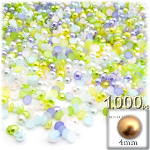 the-crafts-outlet-1000-piece-pearl-finish-half-dome-round-beads-4mm-pastel-mix
