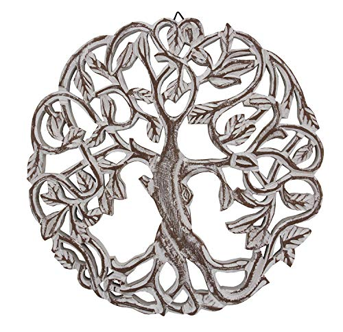 DharmaObjects Handcrafted Wooden Celtic Tree of Life Wall Decor Hanging Art (White)
