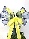 Gift bow, Navy Blue and Yellow with Pearl Handmade Large Gift Bow, Office Decorating, Wreath Bows, Holiday Bow, Home Decor, Swag Bow, Door Decor - Handmade Bow