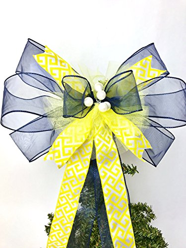 Gift bow, Navy Blue and Yellow with Pearl Handmade Large Gift Bow, Office Decorating, Wreath Bows, Holiday Bow, Home Decor, Swag Bow, Door Decor - Handmade Bow by Art of Bows