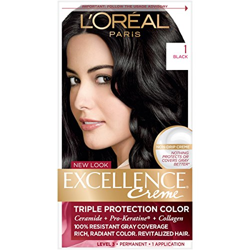 L'Oréal Paris Excellence Créme Permanent Hair Color, 1 Black, 1 kit 100% Gray Coverage Hair Dye