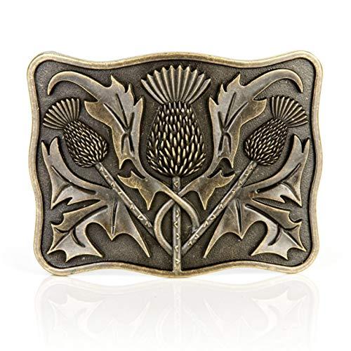 Stunning Scottish Celtic Thistle Brass Kilt Belt Buckle