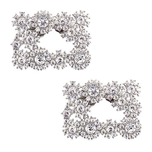ElegantPark DH Silver Jewelry Decorative Shoe Clips Crystal Charms Wedding Party Accessories 2 Pcs  (Clip Shoe Crystal)