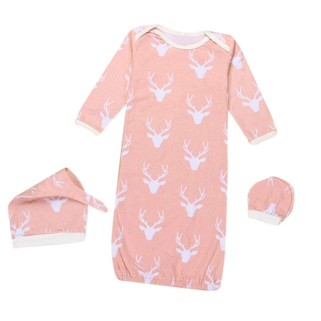 SWNONE 3pcs Newborn Sleep Bag Sleepwear Outfit Cotton Wearable Blanket +No Scratch Mittens+ Hat