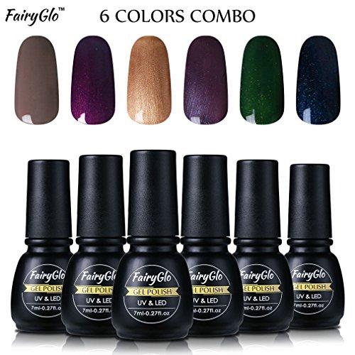 Nail Polish UV LED Soak Off Nail Art Gel Manicure Gift Set 6PCS FairyGlo 7ml 00008