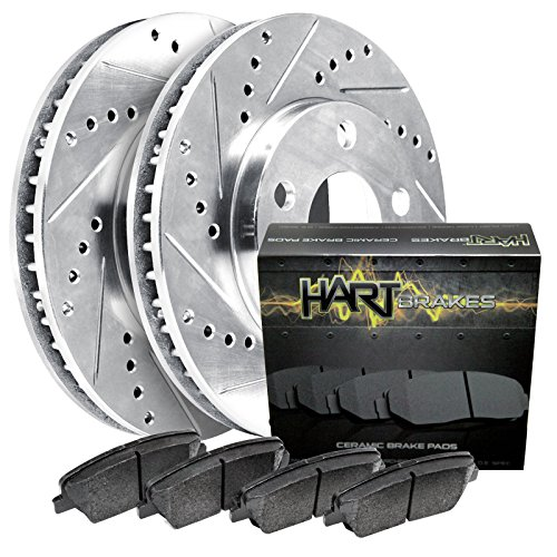 (1995-2004 Tacoma Front Hart Drilled Slotted Brake Rotors and Ceramic Pads)
