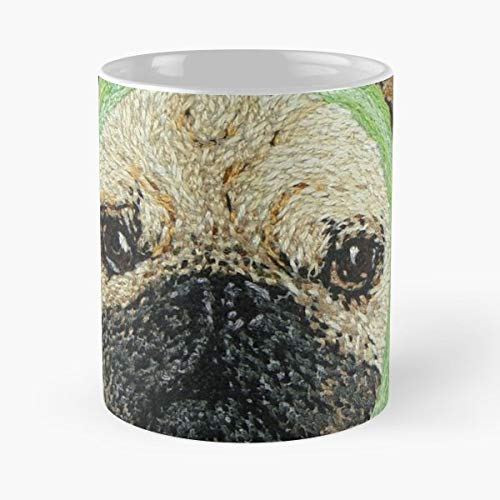 - Hand Embroidery Pug Dog Apple Coffee Mugs Best Gift, Funny Cup