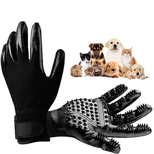 Fanxis Pet Grooming Gloves Dog Cat Horse Deshedding Hair Remover Glove - Pair of Enhanced Five Finger Design Brush Mitts for Sheeding Bathing Massaging Long/Short Fur Removal