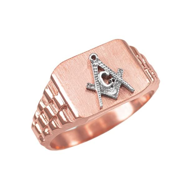 10K-Rose-Gold-Masonic-Mens-Freemason-Ring-size-6-16
