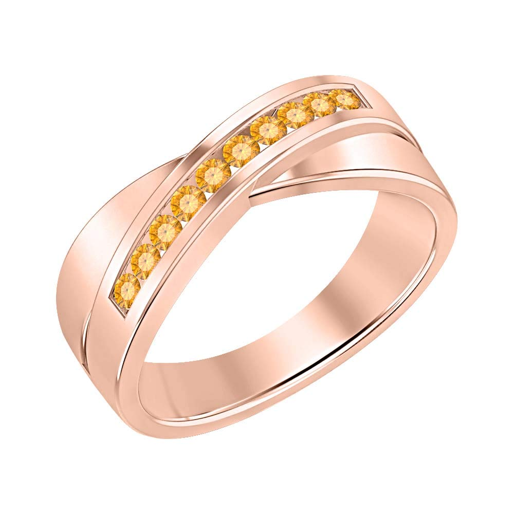 SVC-JEWELS 14K Rose Gold Over 925 Sterling Silver Round Cut Citrine Criss Cross X Wedding Band Ring for Men