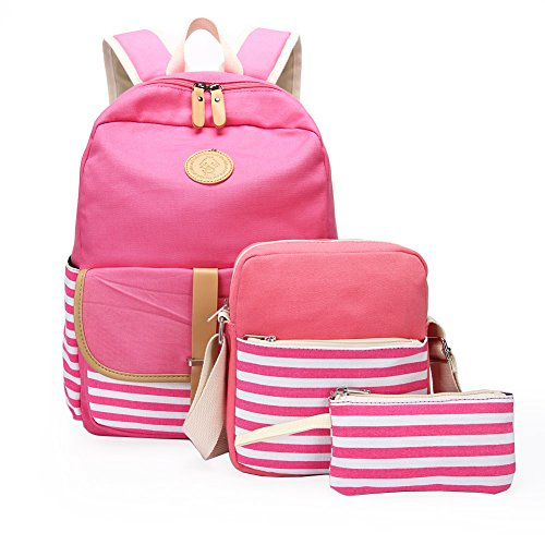 School Backpack, Aiduy Student Canvas Bookbag Lightweight Laptop Bag with Shoulder Bags and Pen Case for Teen Boys and Girls (Pink, 3pcs) (Pink Computer Bags For Laptops)