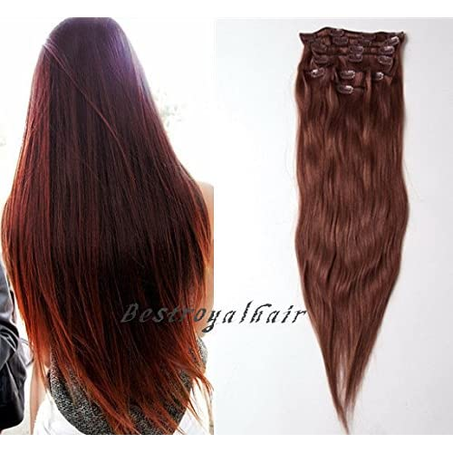 free shipping BestRoyalHair 18 Clips Dark Auburn Solid Color