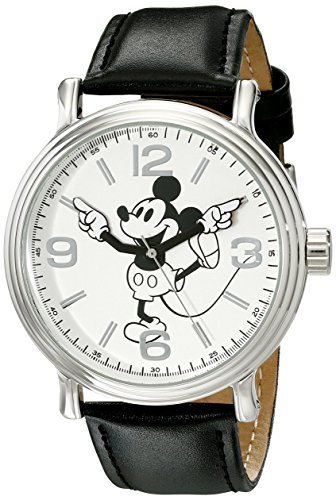 - Disney Men's W001853 Mickey Mouse Silver-Tone Watch With Black Faux-Leather Band