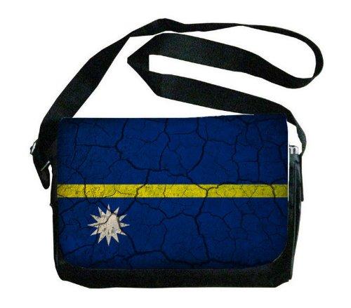 Nauru Flag Crackled Design Messenger Bag
