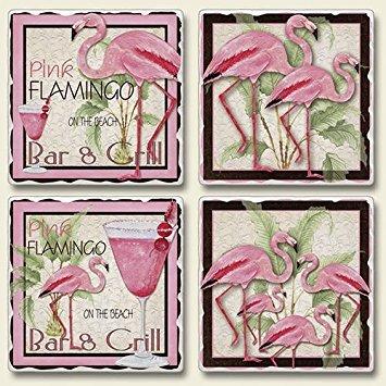 (Tropical Pink Flamingo Bar & Grill Absorbent Coasters Set of 4)