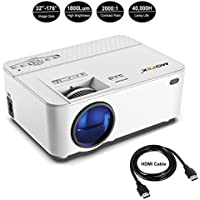 Mofek 1800 Lumens LED Mini Projector, Full HD Home Theater Video Projector Support 1080P, HDMI USB SD Card VGA AV for Home Cinema, Compatible with Amazon Fire TV Stick