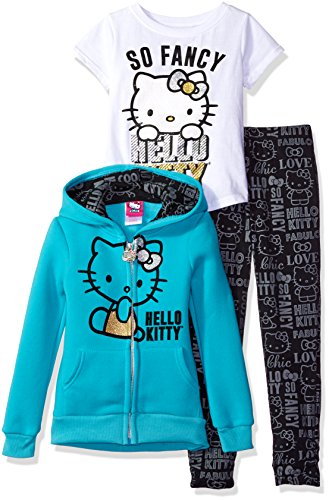 Hello Kitty Little Girls' Toddler 3 Piece Zip up Hoodie Legging Set with T-Shirt and Printed Leggings, Sea Glass, 2T