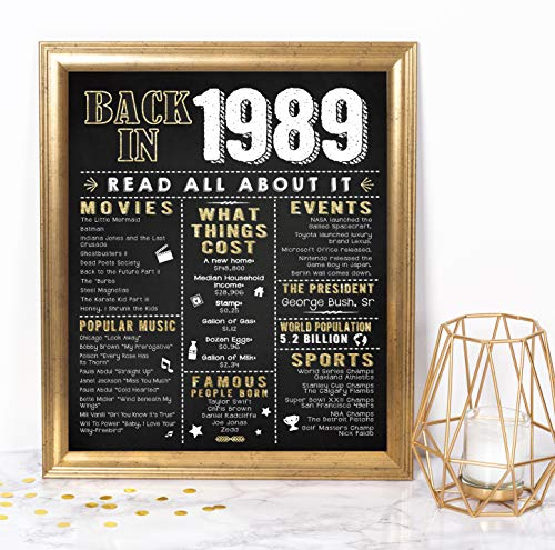 (Katie Doodle 30th Birthday Decorations Party Supplies Gifts for Women or Men | Includes 8x10 Back-in-1989 Sign [Unframed], BD030, Black/Gold)