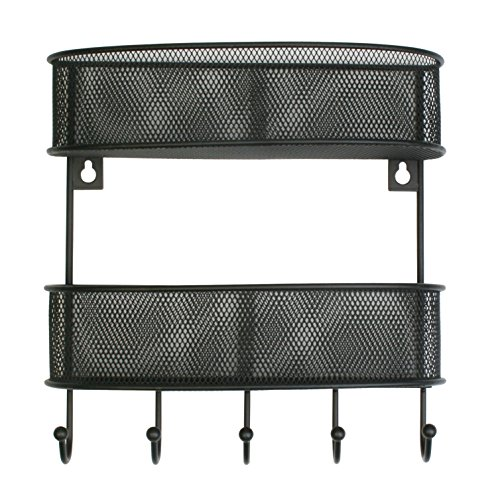 Artestia 2-Tier Wall Mount Metal Mesh Mail Letter Holder, Key Rack Organizer for Entryway, Kitchen, Garage (BLACK)