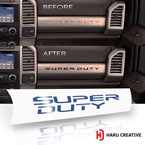 Haru Creative - Ford Super Duty F250 F350 F450 (2017-2018) Glove Box Dashboard Letter Insert Overlay Vinyl Decal - Gloss Blue - Used Ford Super Duty