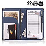 Server Books for Waitress or Waiter   Cute Server Book Organizer with Zipper Pocket for Restaurant Receipt or Money Check Holder, Waitress Book Fits in Apron + Includ Guest Order Note Pad (Blue)