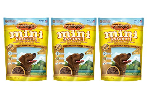 Zukes Mini Naturals Peanut Butter - Zuke's Mini Naturals Dog Treats, Peanut Butter, 3 Pounds