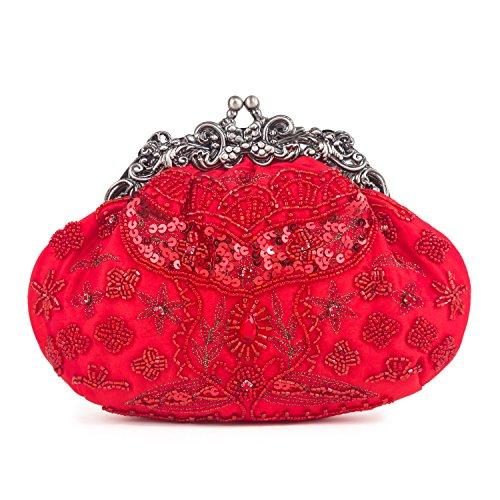 Farfalla 90404 - Bolso estilo sobre de satén mujer rojo - rojo