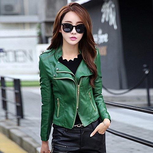 Motorista Con Color De Sintética Bolsillos Invierno Cremallera Para Y Chaqueta Verde Piel Parka El Abrigo Negro Mujer Y5Rwxq6