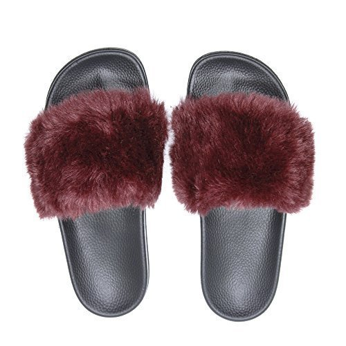 Sandals Slippers, Fashion Women and Men Flip Flop Fur Slide Slip On Flats Shoes (9B(M) US, (Light Pink Slides)