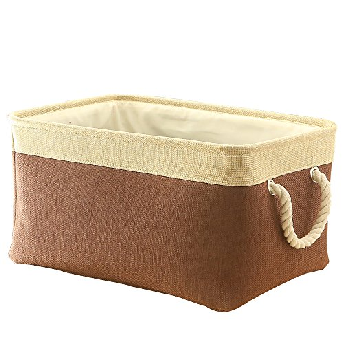 TheWarmHome Fabric Basket with Lined Large Storage Basket Baby Basket Toy Box,Brown Patchwork,16