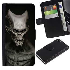 NEECELL GIFT forCITY // Billetera de cuero Caso Cubierta de protección Carcasa / Leather Wallet Case for Apple Iphone 5 / 5S // Cráneo malvado