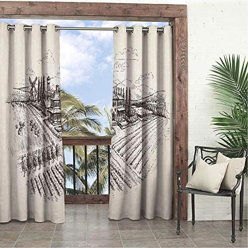 (Linhomedecor Garden Waterproof Curtains Farmhouse Sketch Style Illustration Vineyard Hand Drawn Natural Scenery Print Brown and Ivory pergola Grommets Print Curtains 84 by 72 inch)