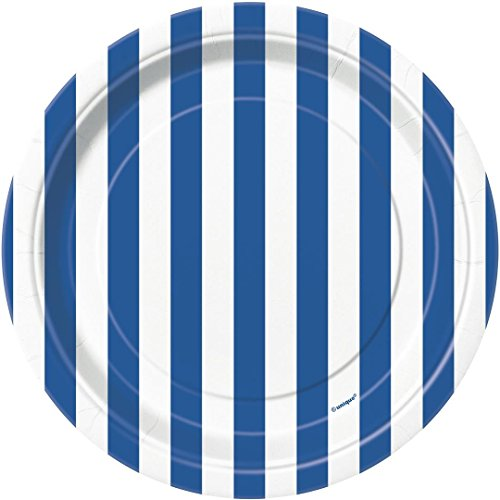 Royal Blue Striped Paper Cake Plates, (Halloween Finger Food Ideas Party)