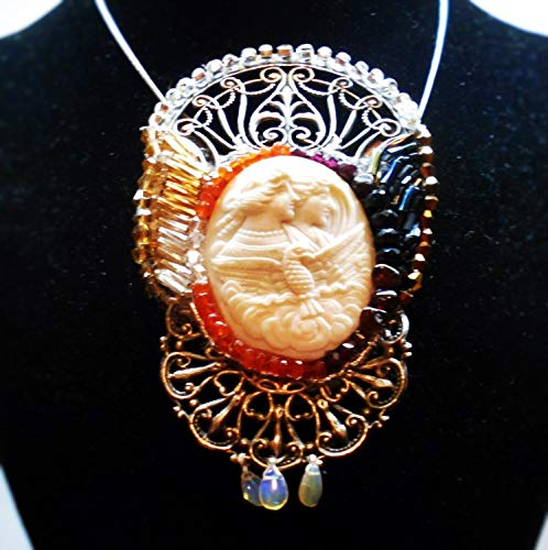 Victorian Hand Carved Eos Night & Day, Rare, Large Shell Cameo of Goddess in Art Nouveau Beaded Night Day Setting Brooch/Pendant ()