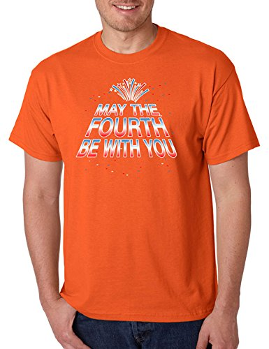 Allntrends Men's T Shirt May The Fourth Be With You Funny 4th of July Tee (XL, Orange)