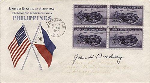 John H. Bradley - First Day Cover Signed Cachet Block