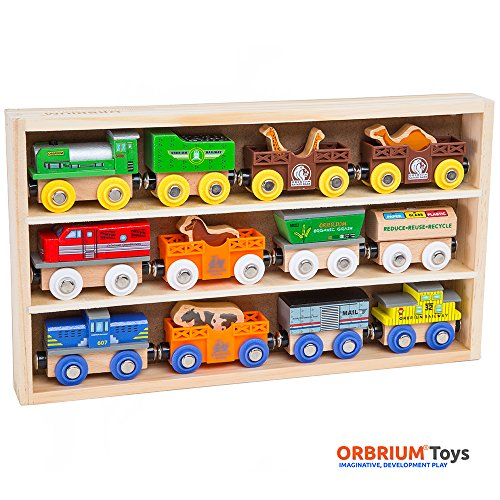 Orbrium-Toys-12-Pcs-Wooden-Engines-Train-Cars-Collection-with-Animals-Farm-Safari-Zoo-Wooden-Animal-Train-Cars-Circus-Train-Car-Compatible-with-Thomas-Wooden-Railway-System-Brio-Chuggington