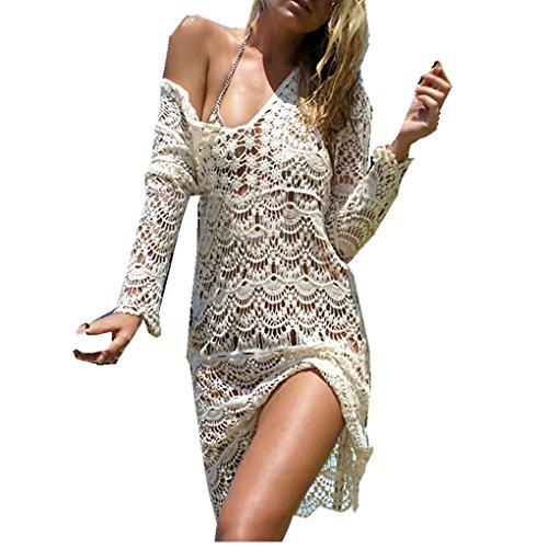 Women Dress,Haoricu Fall Women Transparent Sexy V-neck Lace Hollow Bikini Cover Swimwear Beach Dress (Free Size, Beige)