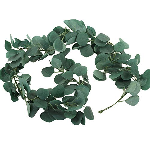 Koyal Wholesale Faux Eucalyptus Garland 6 Feet Table Runner Wedding Decorations, Artificial Silver Dollar Eucalyptus Garland Vine, Unscented, Greenery Wedding Table Decorations, Realistic Eucalyptus (Garland Wholesale)