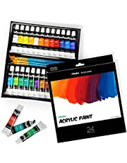 """Ohuhu Complete Acrylic Paint Set - 24Ñ… Rich Pigment Colors (12 Ml, 0.42 Oz.) - 6 X Art Brushes - For Painting Canvas, Clay, Ceramic & Crafts, Non-Toxic & Quick Dry €"""" For Kids & Adults"""