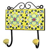 IndianShelf Handmade 1 Piece Yellow Light Green Floral Tiles Ceramic Wall Hooks Cloth Coats Hangers Key Accessories Holders Online HK-613