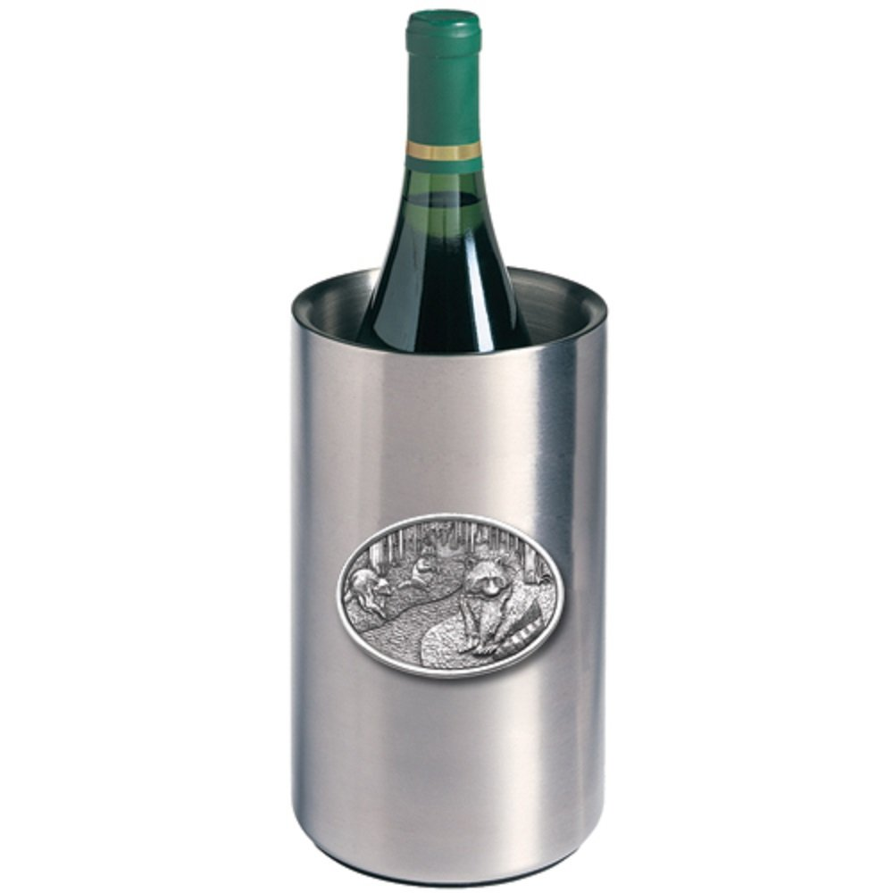 ANIMAL, RACCOON WINE CHILLER, This is a wine chiller made of double-wall insulated stainless steel with a fine pewter logo medallion bonded to the front.